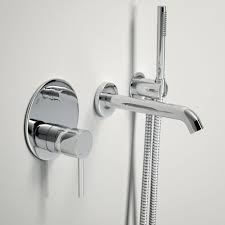 lusso luxe wall mounted bath tap with valve and handheld shower lusso luxe wall mounted bath tap with valve and handheld shower kit chrome