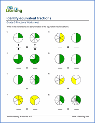 grade 3 fractions u0026 decimals worksheet identifying equivalent