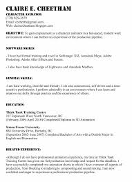 Sample Artist Resume by Maya Animator Cover Letter