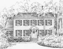 Residential Ink Home Design Drafting by House Portrait In Ink 11x 14 Family Heirloom