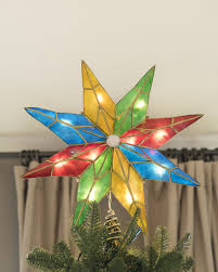 Star Christmas Tree Toppers Lighted - 14 inch lighted 5 point capiz multicolor star christmas tree