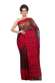 dhakai jamdani buy pinkloom womens dhakai jamdani saree black and at 36 in