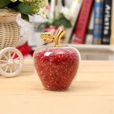 7 color crafts glass apple paperweight with diamonds