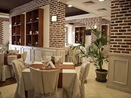 mesmerizing restaurant interior design ideas with brown brick wall
