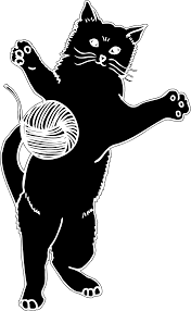 clipart cat playing with ball of yarn silhouette