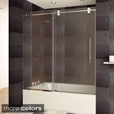 Bath Shower Doors Glass Frameless Aston Langham 60 In X 60 In Completely Frameless Sliding Alcove