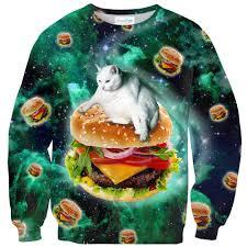 cat sweater hamburger cat sweater shelfies