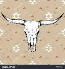 bull skull horns on native americans stock vector 339889775