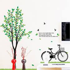greentree and bicycle wall sticker wall art decals vinyl wall greentree and bicycle wall sticker