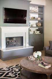 photos hgtv gray and white fireplace with built in shelves loversiq