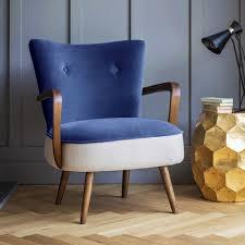 Yellow Velvet Armchair Armchair In Blue Velvet And Linen
