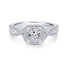 princess cut halo engagement ring 14k white gold princess cut halo engagement ring anfesas jewelers