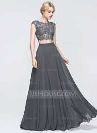 a line princess scoop neck floor length chiffon prom dress with