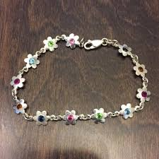 silver bracelet with stones images 56 off jewelry dainty silver bracelet w flowers stones in jpg