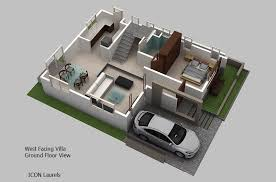 ground floor plan west facing plan 3 bhk duplex villas