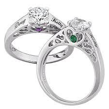 promise rings silver images Sterling silver couple 39 s name and birthstone cz promise ring jpg