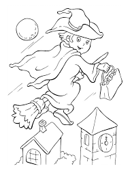 halloween witch coloring pages printable free hallowen coloring