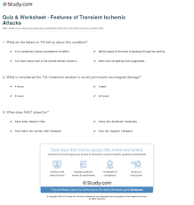quiz u0026 worksheet features of transient ischemic attacks study com