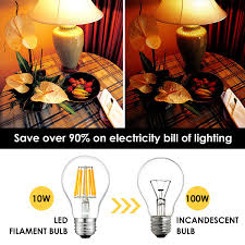 sunmeg a19 led clear edison style filament replacement to 100w