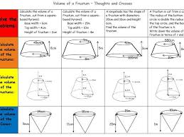 volume of a frustum by leond06 teaching resources tes