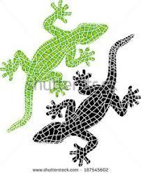 decorative mosaic coloured wall mountable lizard ornaments two
