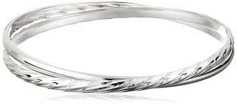 bangle bracelet diamond images Sterling silver smooth and diamond cut twisted bangle jpg