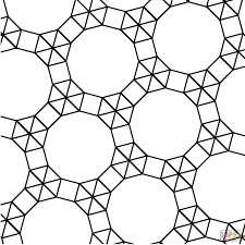 tessellation with dodecagon triangle and square coloring page