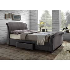 44 gray storage bed hannover faux leather 4 drawer storage bed in