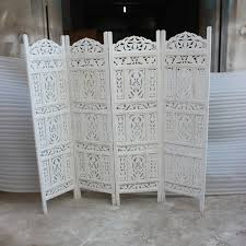 White Room Divider - hand carved indian partition screen room divider whitewash
