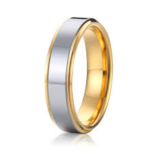 cheap wedding ring cheap two tone silver and gold plated titanium mens wedding ring