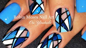 geometric stripe nails diamond blue nail art design tutorial