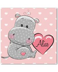 tableaux chambre enfant hippopotame tableau personnalisé au prénom de bébé fille