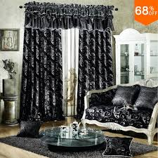 Black And Gray Curtains Black Luxurious Rod Stick Hang Style Living Room Curtains For