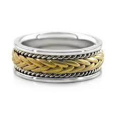 braided wedding bands 14k two tone white yellow gold men s braided wedding band twisted