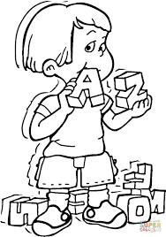kid is playing with the alphabet cubes a and z coloring page