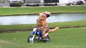 motorcycle rider halloween costume ryan riding his ttr50 dirt bike in a jurassic park t rex