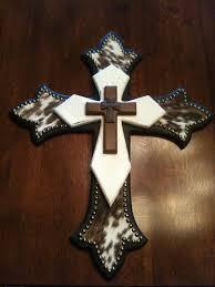 Crosses Home Decor Western Cross With Cowhide U2026 Pinteres U2026