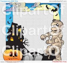 halloween borders transparent background clipart mummy cemetery jackolantern and haunted house halloween