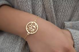 customized gold bracelets gold circle monogram bracelet katy styles name necklace