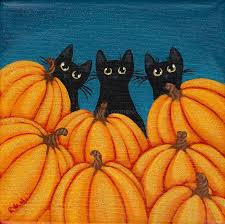halloween paintings ideas halloween black cats and pumpkins original folk by kilkennycatart