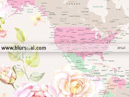 Bahamas World Map Printable World Map With Cities Pastel Florals Large 36x24