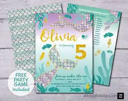 mermaid party invitation printable customized personalized