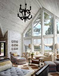 modern log home interiors charming lakefront log cabin with whitewashed interiors log