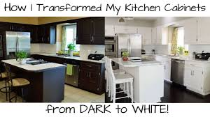 White Cabinets In Kitchen How To Paint Kitchen Cabinets From Dark To White Youtube