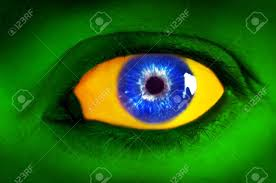 Colors Of Jamaican Flag Brazil Flag Concept Human Eye In Colors Of Brazilian Flag Stock