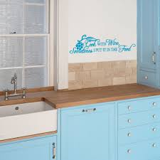 cook with wine wall decal sticker quote lounge dining living sky blue cook with wine wall decal over work surface