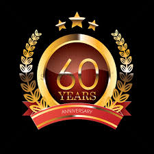 60 years anniversary label with ribbon vector image 1399870
