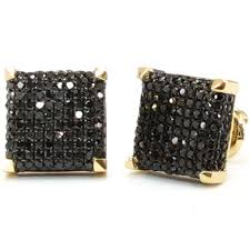 mens black diamond earrings 14k white or yellow gold black diamond 3d square stud earrings