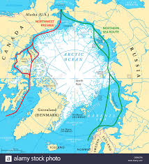 Map Of The Northwest Arctic Ocean Sea Routes Map With Northwest Passage And Northern