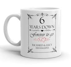 6th wedding anniversary gift personalised 6th wedding anniversary gift mug 6 years marriage add